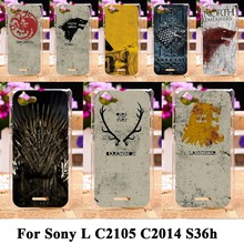 Cool hard plastic phone bag for Sony Xperia L C2105 C2014 S36h Hot tv Game Thrones painting phone cover Protective skin case
