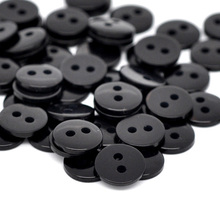"DoreenBeads Resin Sewing Button Scrapbooking Round Black Two Holes 9mm(3/8"")x 2mm(1/8""),55 PCs 2015 new"