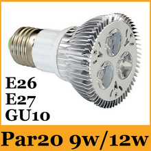 E26/E27/GU10 PAR20 Dimmable Led Spotlights 9W 12W Warm/Pure/Cool White AC 85-265V 60 Beam Angle Led Recessed Lights CE&ROHS CUL