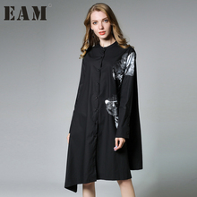 [EAM] 2017 new autumn stand collar long sleeve black white irregular printed loose big size dress women fashion tide JA53101XL(China)