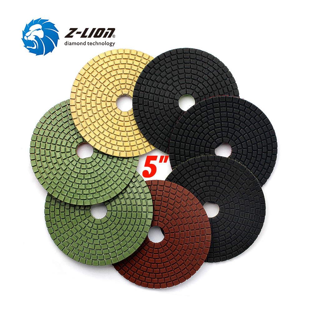 Z-LION 7pcs 5 Inch Diamond Polishing Pad Wet for Granite Marble Concrete Stone Polishing Flexible 125mm Diamond Resin Bond Disc<br>
