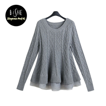 BiSHE Autumn 2017 Fashion O-Neck Long Sleeve Mesh Ruffles Sweater Female Knitted Pullover Solid Plus Size Women Winter Clothes