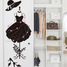 [SHIJUEHEZI] Black Color Girl's Formal Dress Wall Sticker DIY Home Decor for Wardrobe Living Room Clothes Shop Decoration