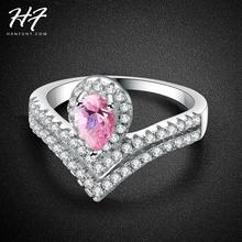 Exquisite Queen Crown Heart Shaped Ring Sliver Color CZ Crystal Pink Crystal Rings for Women Fashion Accessories R465