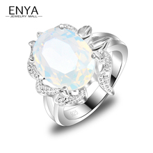 ENYA New Fashion Exquisite Women Rings Classical Synthetic Moonstone Ring 100% Hand Made HOT Silver Plated Jewelry R0268(China)