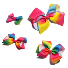 Four size Newborn Fashion Dovetail Rainbow Hair Bows for Hair Clips Handmade Gradient Color Hairbows for Girls Hair Accessories