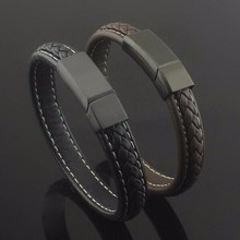 Black/brown genuine leather titanium stainless steel magnet buckle bracelet bangle men punk wrist band male jewelry