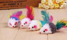 Freeshipping 20pcs Interesting Pet Cat Hamster Playing Catch Toy Faux Furry Mouse Feather Tail wholesale