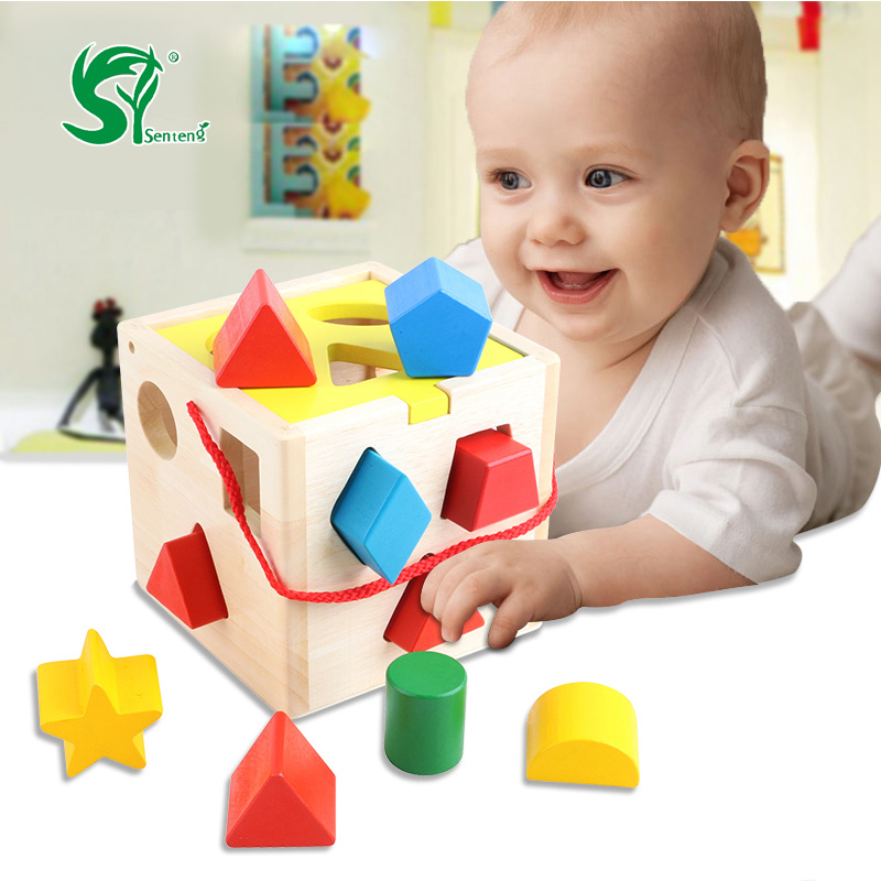 Wooden toys for children Shape Sorting Cube Matching Baby Educational  Kids Toys Birthday Gift oyuncak<br>