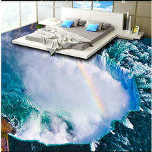beibehang custom blue ocean waterfall three-dimensional painting bathroom living room thick waterproof wear-resistant floo