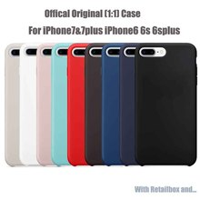 Original 1:1 Copy Officeal Silicone Case For iPhone 7 6 6S Plus Phone Bags Cases Cover For iPhone 7 5 S E With Logo
