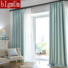 bIgmUm 70%-90% shading Blackout Curtains For Living Room style solid color modern linen lining tulle curtain window custom(China)