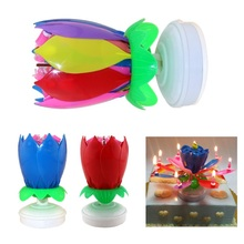 6 Colors Candles Double Layer Rotating Musical Lotus Electronic Art Birthday Candles with Holder Gift for Kids Birthday(China)