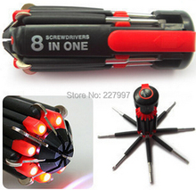 100pcs/lot 8 In 1 Multifunctional Screwdriver Tools Set Tool Kit With 6LED Flashlight Powerful 6 LED Light Torch Free Shipping