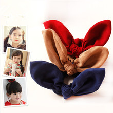 20pcs/lot Pigtails Suede Fabric Bunny Ear Elastic Hairbands High Quality Apricot Girl Blank Hair Bow Bands Fall Winter Head Wear
