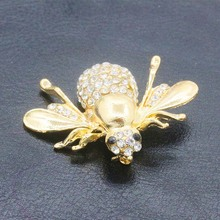 Gold Silver Plated Beetle Brooch Pins Lapel Crystal Rhinestone Bee Brooches Badges Women Men Insect Jewelry Clothes Accessories(China)