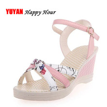 New 2018 Summer Sandals Women Rome Wedges Sandals Ladies Brand Summer Shoes Sweet Wedge Heel 7cm ZH2639(China)