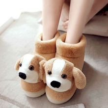 2016 women Winter Warm Indoor Slippers Cute Cartoon Plush fluffy Slippers Unisex Home Cotton Slippers Animals Pattern Soft Shoes