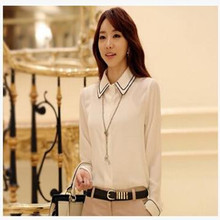 Fashion party words brought OL formal business touch slim woman shirt sleeve chiffon blouse fossa women with big office wear coa(China)