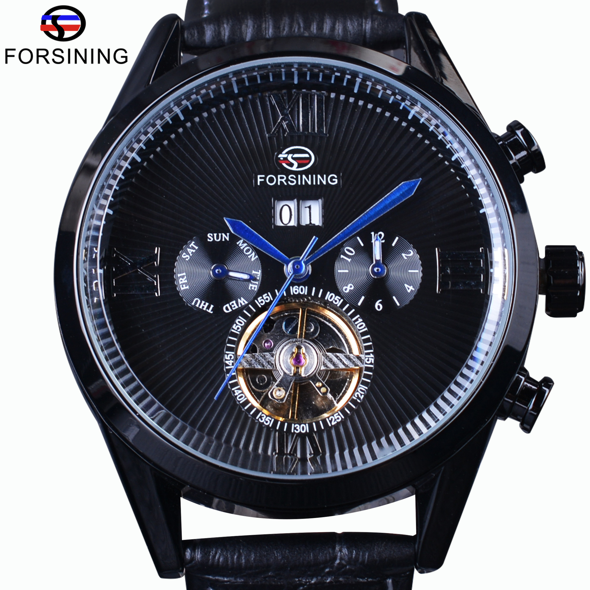 Forsining Black Genuine Leather Blue Hands Steampunk Tourbillion Streamlined Dial Automatic Watch Mens Watches Top Brand Luxury<br>