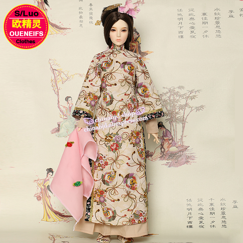 OUENEIFS free shipping 1/3 bjd sd doll Beautiful Handmade Ancient Vintage Style Floral Doll Cloth Court Dress<br>