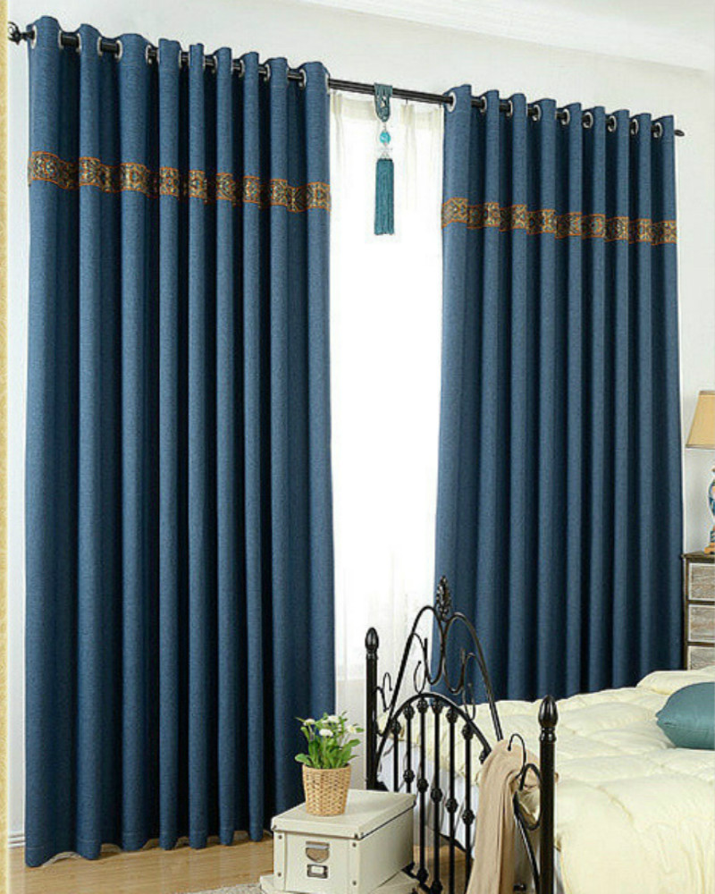 new style 9 color shade cloth curtain for the living room linen finished blackout