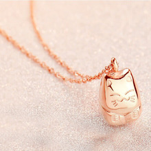 Lovely lucky totoro and Mosai necklace 18 k rose gold short chains of female clavicle short chain(China)