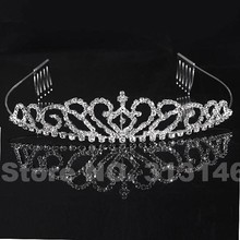 Sparkling Silver Plated Fashion Crystal Wedding Princess Girl Tiara Heart Headband Rhinestone Pageant Crown for Bride Hair Dress(China)
