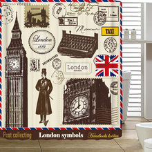 Promotion Customized 100% Polyester Retro Shower Curtains 3D London Stamp Big Ben Prints Bath Curtain Vintage DIY With Hooks(China)