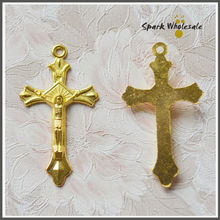 100pcs/lot Wholesale Religious Golden Cross Metal Jesus Crucifix Zinc Alloy Gold Plated Cross Pendant Making Rosary Cross Charm(China)
