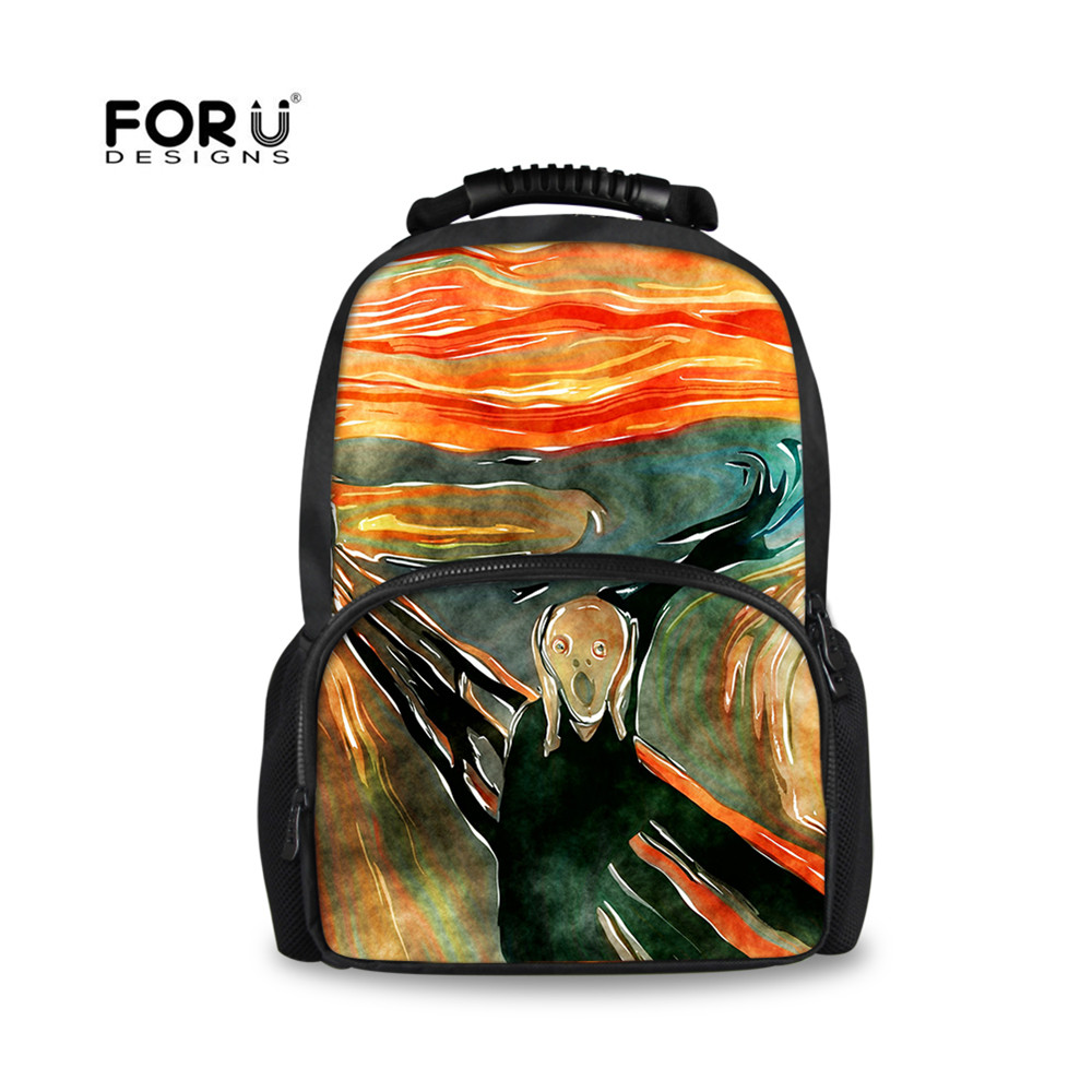FORUDESIGNS Large Capacity Backpack Art Pattern Printed Women Men Backpacks Bags Casual Travel Infantry Pack Student school bag<br>