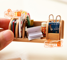 1 : 12 Miniature Doll House Wood Stationery Book Rack Dollhouse Miniatures Study Room Furniture Accessories(China)