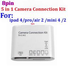 100set/lot * USB 5 in 1 Camera Connection Kit SD TF M2 HC Card 8 PIN Reader Adapter For iPad 4 5 IPAD MINI For ipad pro air 2 3