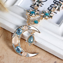 "8SEASONS New Fashion Moon Pendant Necklace Link Cable Chain Gold Color Enamel Created Rhinestone 69.0cm(27 1/8""), 1 PC"
