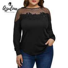 Buy AZULINA Plus Size Mesh Panel Floral Applique Women Blouses Shirts Long Sleeve Casual Black Ladies Tops Blouse Fashion Blusas 5XL for $11.99 in AliExpress store