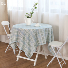 DUNXDECO Tablecloth Party Decoration Table Cover Fabric French Country Style Small Check Blue Pink Color Romantic Mesa Decor