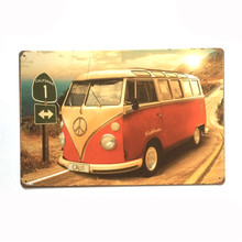 HZ069 Vintage metal painting retro metal tin sign 20cm*30cm California Bus art poster wall stickers home cafe bar pub wall decor
