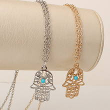 Gold Color Chain Fatima hamsa Hand Pendants Necklace Luck Hand Palm nice Necklace collares X225