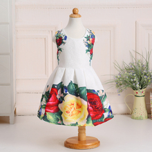 Retail High Quality Flowers Print Party Dress For Little Girl Sleeveless Tank Girls Dress Communion Dresses L-109