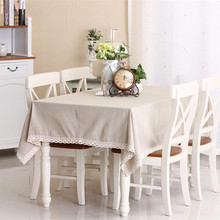 Nature Solid Linen Lace TableCloth Cover Fashionable European Table Cloth for Rectangular Table Palcemats on The Table Sets(China)