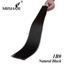 "MRSHAIR 1B# Adhesives Hair Extensions 20pcs Double Sided Tape In Human Hair Natural Black Pu Skin Weft Hair Extension 16""-24"""