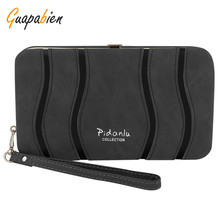 Guapabien Fashion Women Long Wristlet Bag High Quality PU Leather Ladies Metal Frame Purse Money Bag Card Photo Holder Wallets