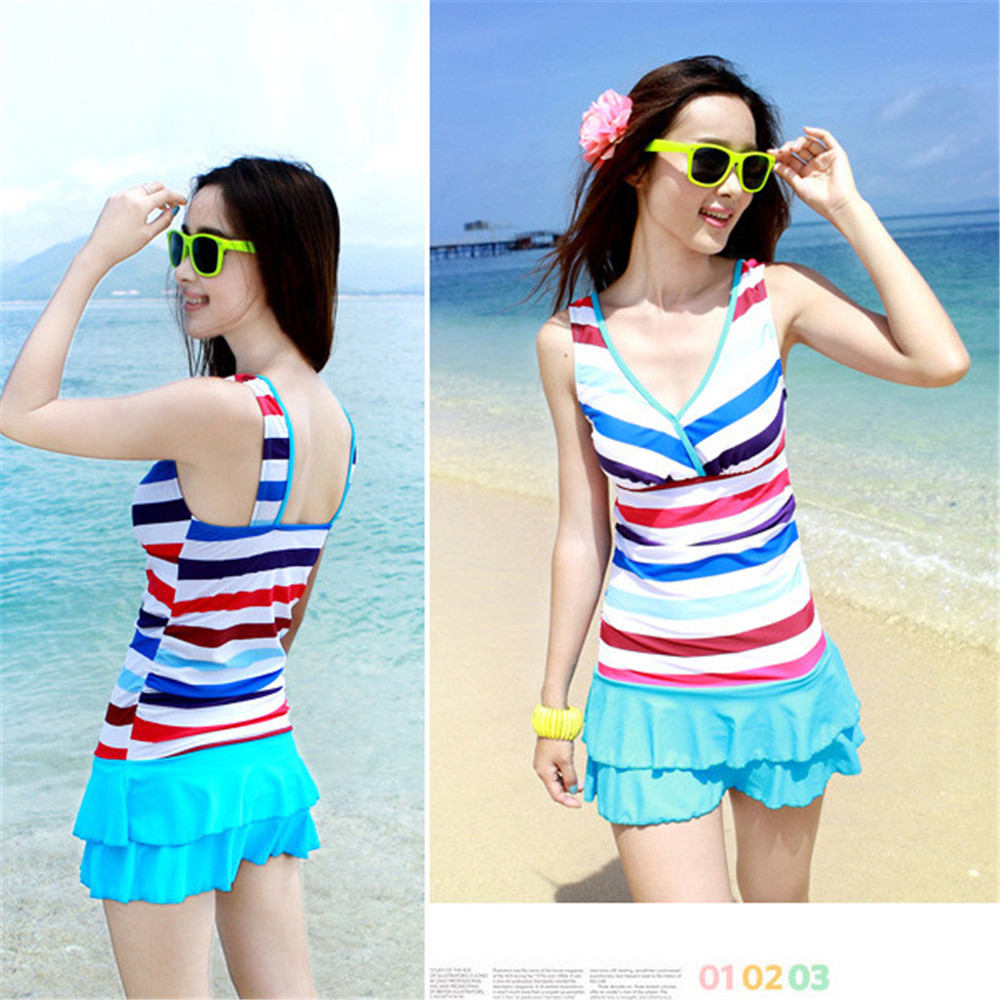 The new swimsuit womens flat-skinned body skirt Shu Shu was thin Slim small chest gather bubble hot spring swimwear<br>