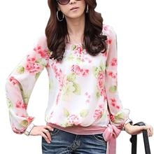 2017 Fashion Women's Floral Print Pattern Casual Puff Long Sleeve Tops Shirt Flower Chiffon Blouse Women