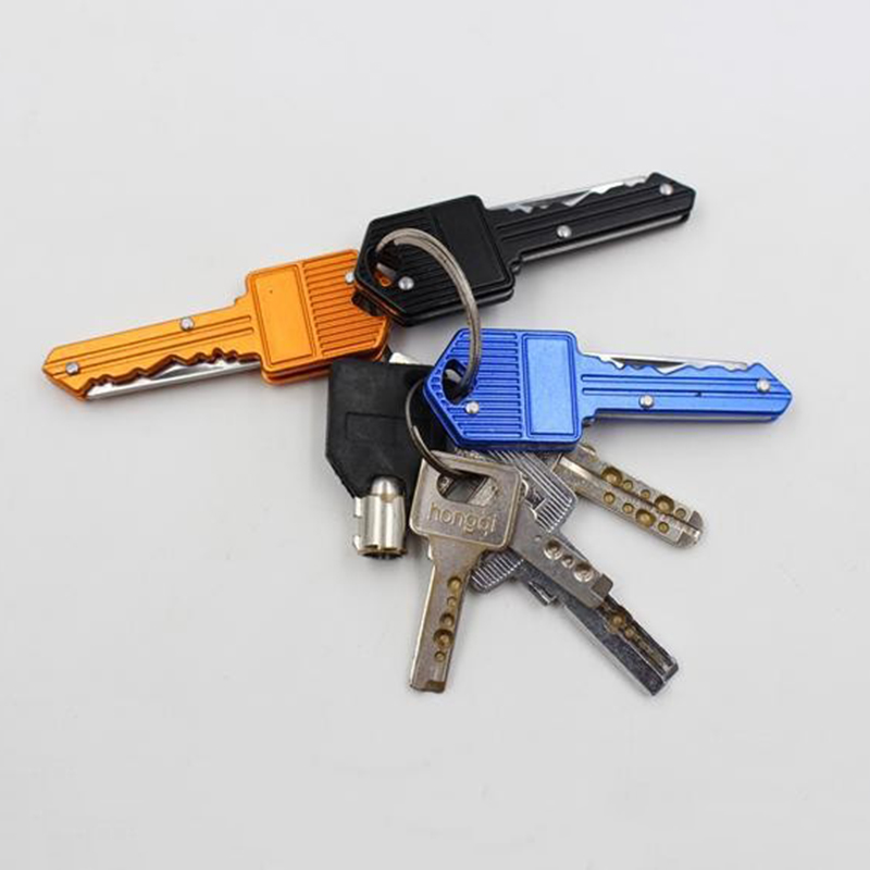 4 Color Protable Key Fold Knife Key Pocket Knife Key Chain Knife Peeler Mini Camping Key Ring Knife Tool P22