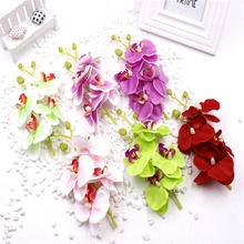 1pcs/lot 17cm Artificial Silk Butterfly Orchid Flowers Bouquet With Peduncle Living Room Coffee Dining Table wedding decoration