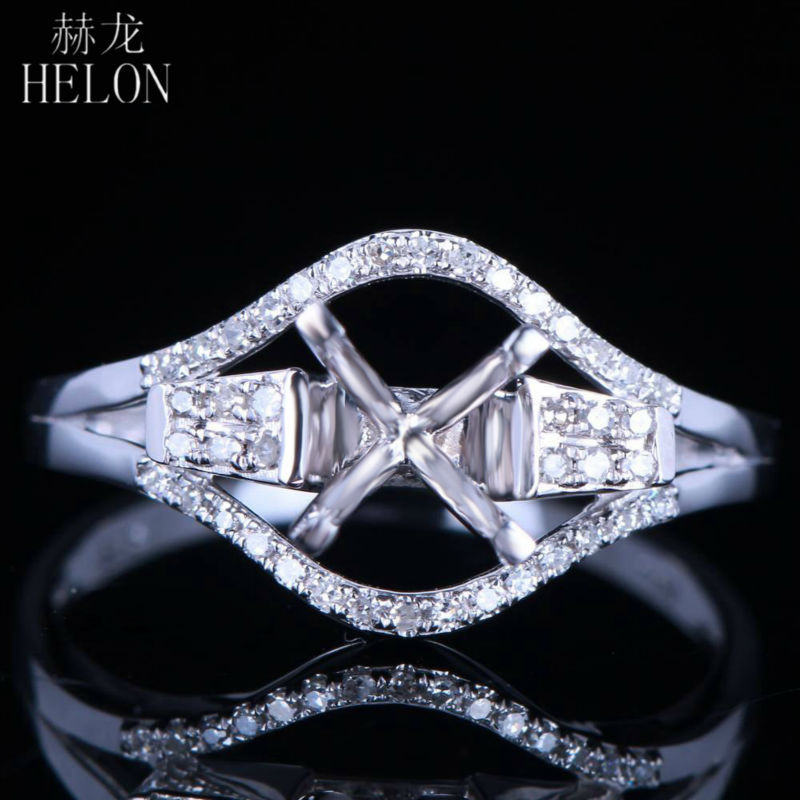 HELON Round Cut 6mm Pave 0.12ct Diamonds Solid 14k White Gold Elegant Classic Semi Mount Wedding Ring,retail and wholesale trade