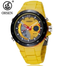 Wholesale OHSEN brand quartz wristwatch digital LED display silicone strap outdoor sport yellow fashion LCD 50m waterproof watch