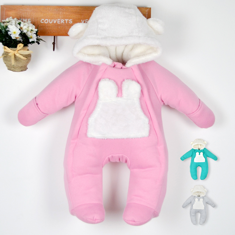 Winter newborn romper fleece baby down romper hooded clothes wadded jacket for newborn outerwear bear boy girl kids costume pink<br>