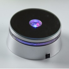 Multicolor Silver Round LED Plastic Light Base/Stand for jewelry, watch, gifts, 2d/3d laser crystal display